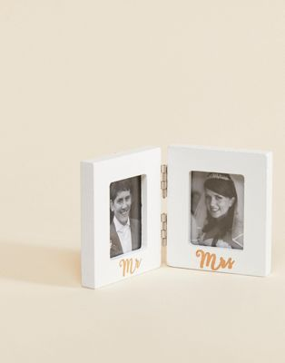 Image 1 of Sass & Belle Mr & Mrs Wedding Double Photo Frame