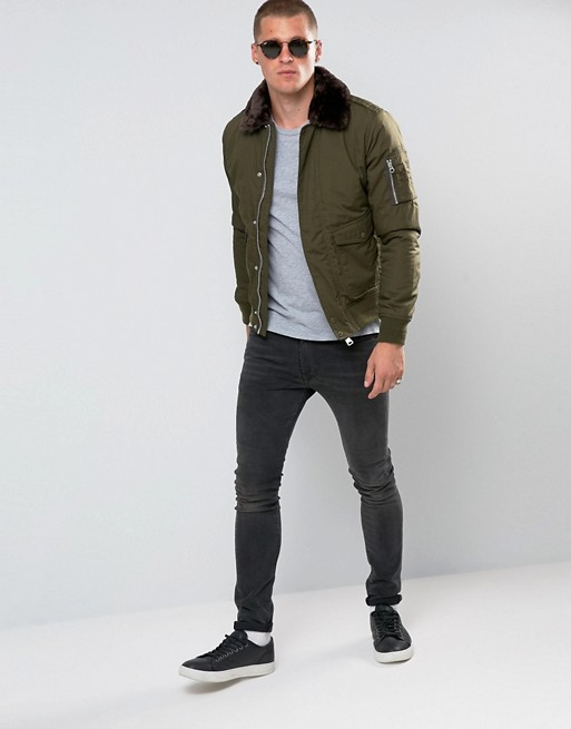 Schott | Schott Air Bomber Jacket Faux Fur Collar