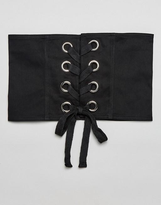 Seint - Ceinture corset en coton avec lacets et œillets
