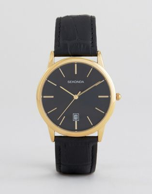 Image 1 of Sekonda 1370 Leather Watch In Black