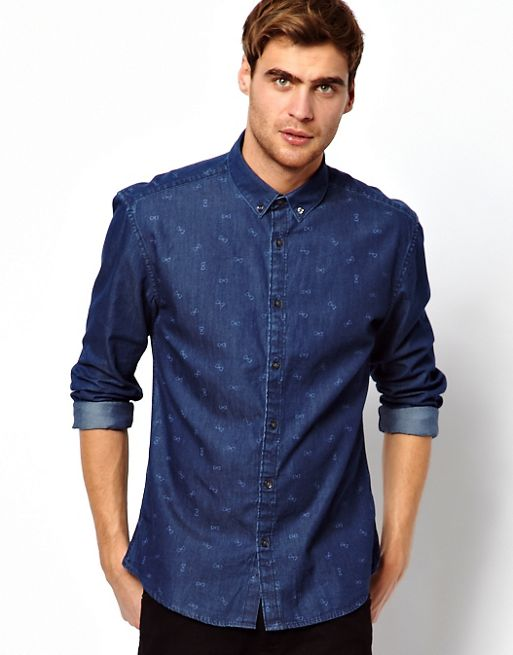 Image 1 of Selected Denim Shirt With Bow Print
