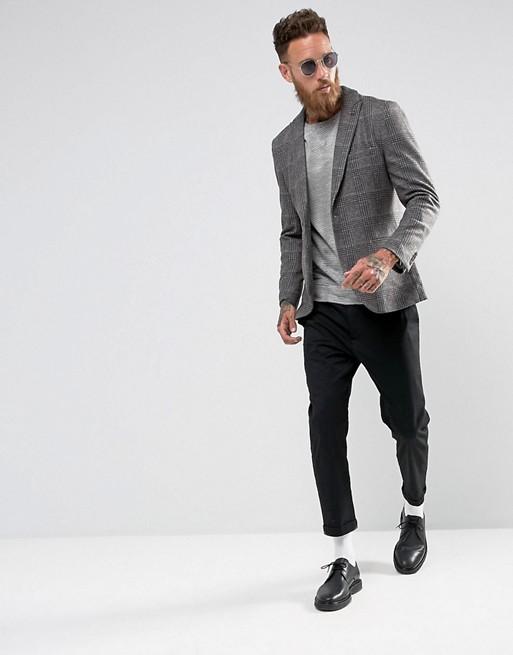 Selected Homme - Blazer slim en laine mélangée à carreaux