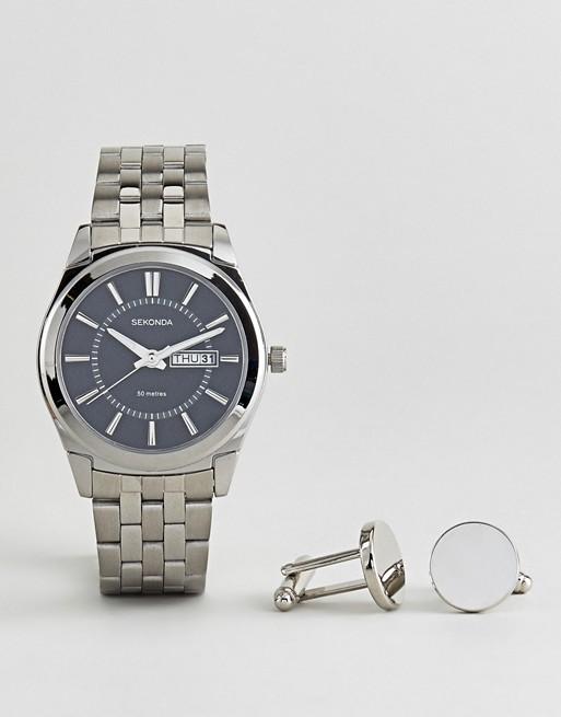 Set de regalo de reloj de pulsera y gemelos en tono plateado 3479.78 de Sekonda