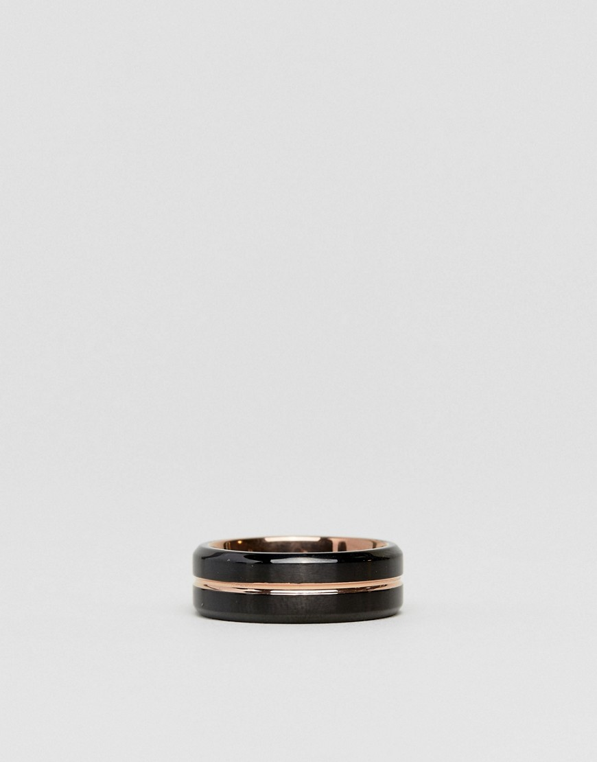 Seven London Black & Rose Gold Band Ring by Seven London