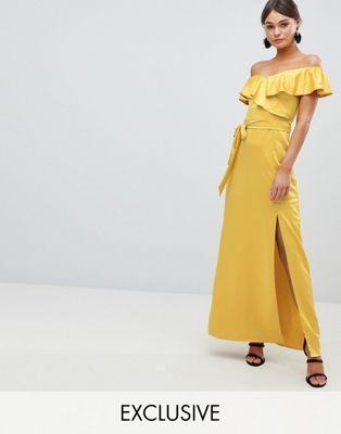 Image 1 of Silver Bloom Off The Shoulder Frill Maxi Dress With Waist Tie
