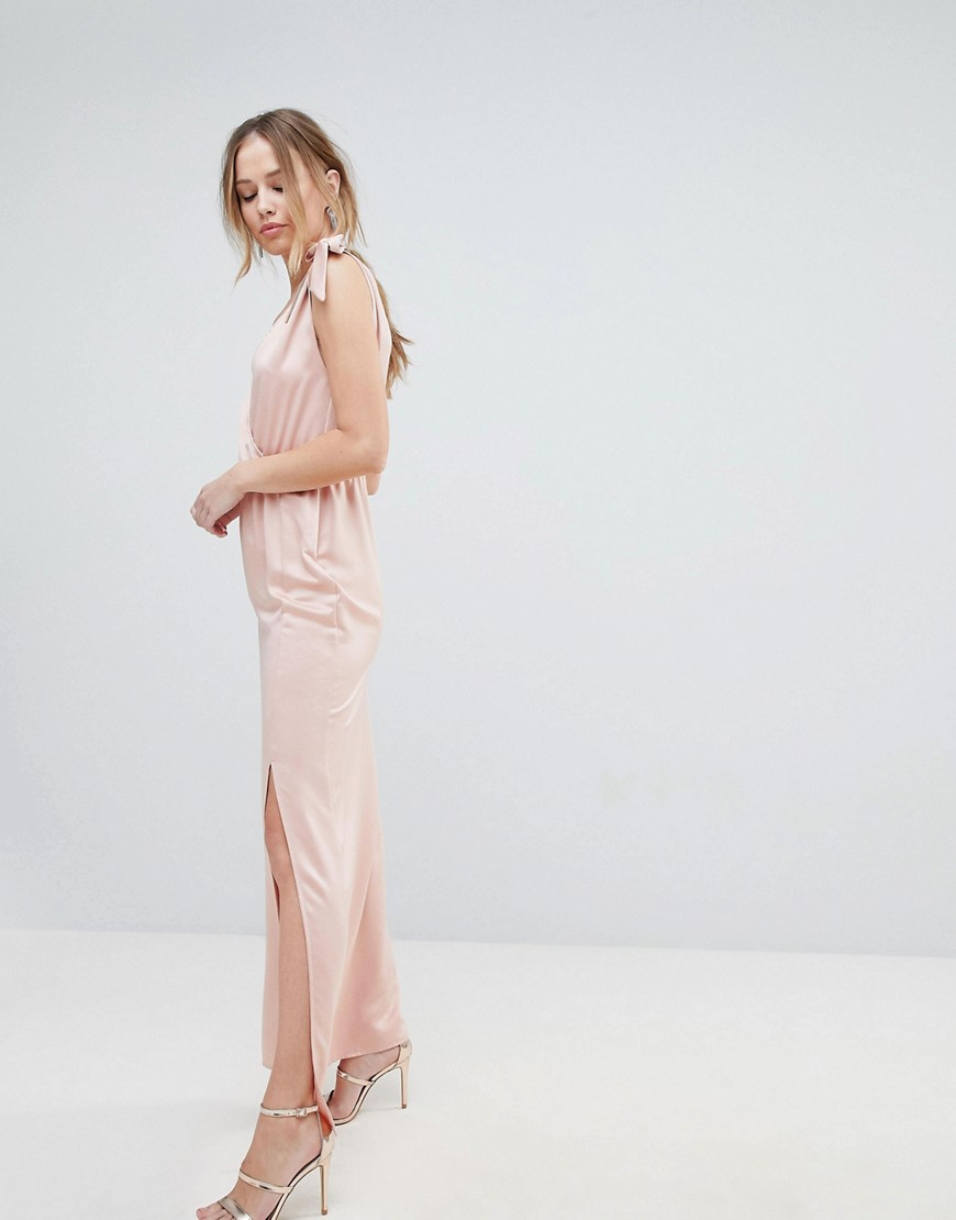 Silver Bloom Tie Shoulder Plunge Maxi Dress by Silver Bloom