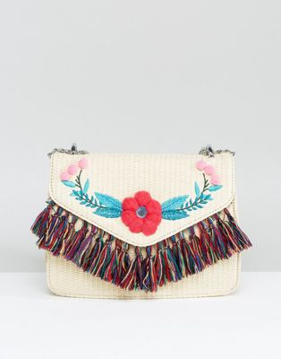 Image 1 of Skinnydip Straw Cross Body Bag With Pom and Tassel Detail