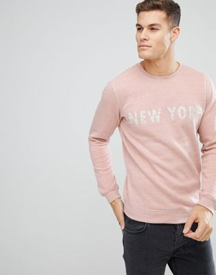 Image 1 of Solid Sweatshirt In Pink Marl With New York Print