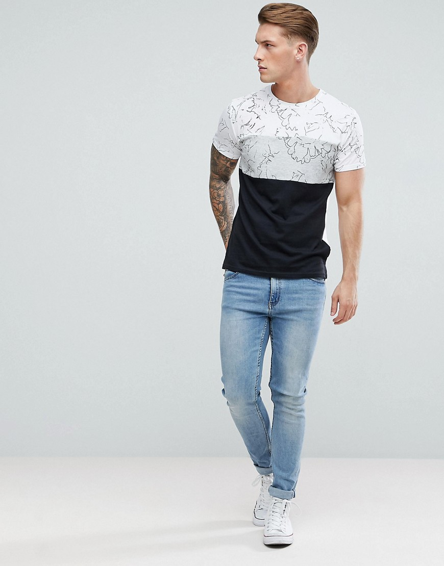 Solid T Shirt With Printed Panels by Solid