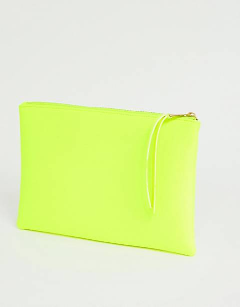 South Beach Exclusive neon yellow clutch with wristlet in scuba