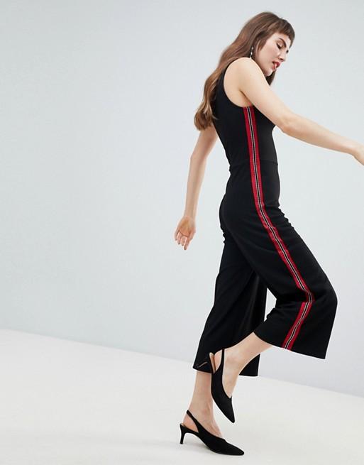 Free Shipping 2018 Unisex Discount Sidestripe Wide Leg Jumpsuit - Black Stradivarius Marketable Online Clearance 100% Original Sale Discount UEZsAymj9