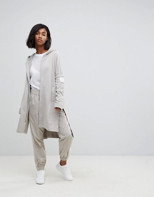 Sudadera larga con capucha y cremallera en beis Adibreak de Adidas Originals