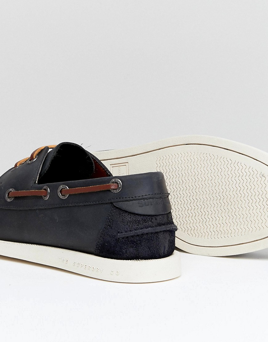 Superdry Leather Boat Shoe In Navy by Superdry