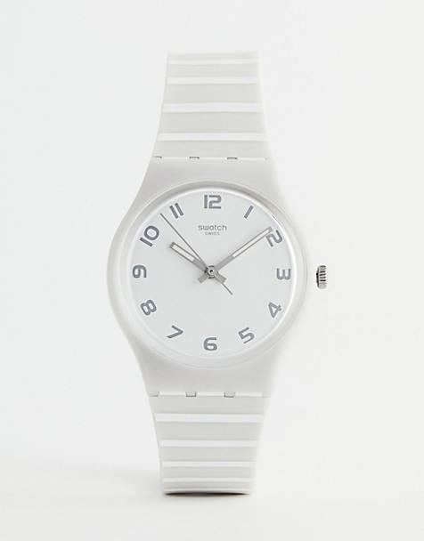 Swatch GM190 Mediterranean Views Stripe Silicone Watch In Grey 34mm