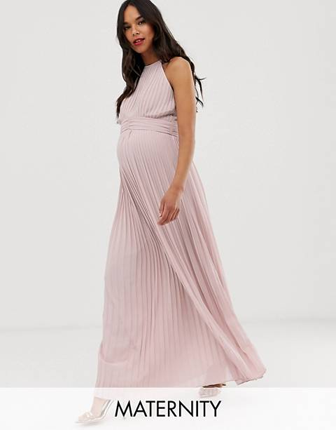 TFNC Maternity bridesmaid exclusive high neck pleated maxi dress in taupe