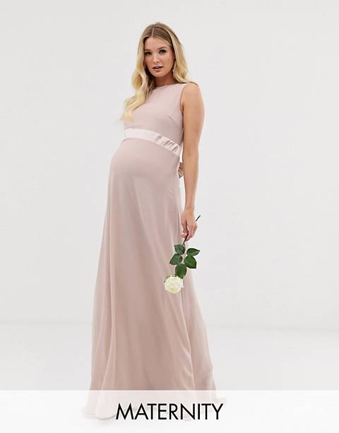 TFNC Maternity bridesmaid exclusive satin bow back maxi dress in pink