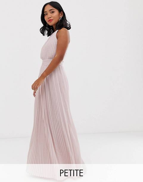 TFNC Petite bridesmaid exclusive high neck pleated maxi dress in taupe