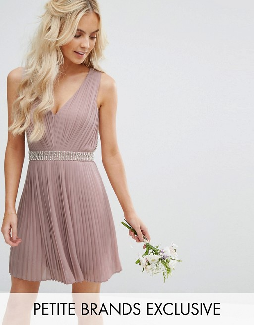 Wedding Embellished Open Back Midi Prom Skater Dress - Mauve Tfnc Tall giilWQ