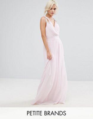 Image 1 of TFNC Petite WEDDING Wrap Front Maxi Dress With Embellishment