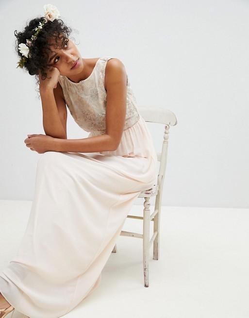TFNC - TFNC - Robe longue de demoiselle d'honneur avec haut doux à fleurs en sequins Combien Pas Cher En Ligne u7yccGEkY