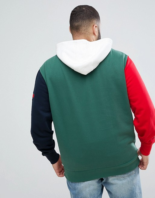 Tommy Hilfiger | Tommy Hilfiger PLUS Rock Icon Colour Block Hoodie  Sweatshirt in White