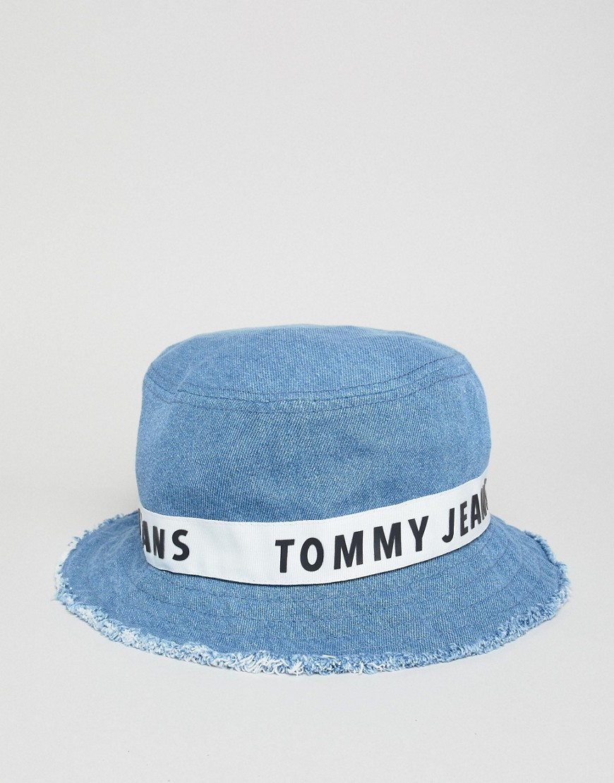 Tommy Jeans Taped Logo Denim Bucket Hat Frayed Edge In Mid Wash by Tommy Jeans