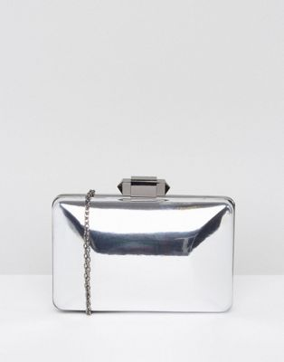 Image 1 of True Decadence Pewter Box Clutch Bag