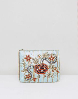 True Decadence Sequin Floral Detail Zip Top Clutch Bag