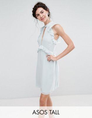 Image 1 of True Decadence Tall Ruffle Shoulder Mini Skater Dress