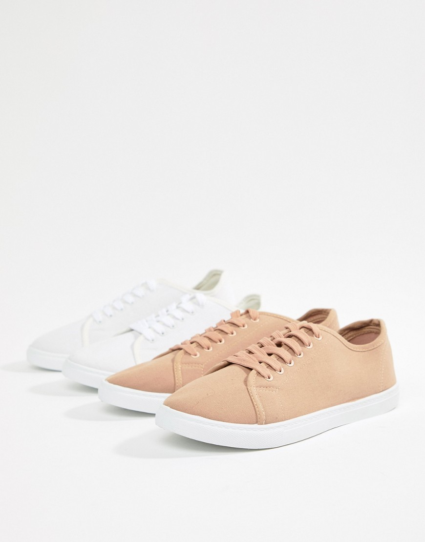 2 Pack Lace Up Plimsolls - White Truffle
