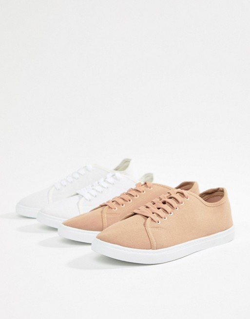 2 Pack Lace Up Plimsolls - White Truffle BcLwxlpGo