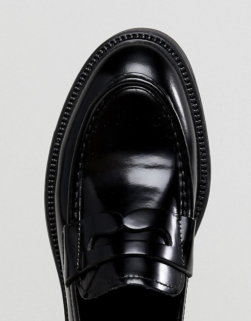 Alex Black Leather Loafer - Black Vagabond