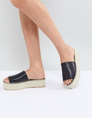 Vagabond Celeste Black Leather Slide Espadrilles by Vagabond