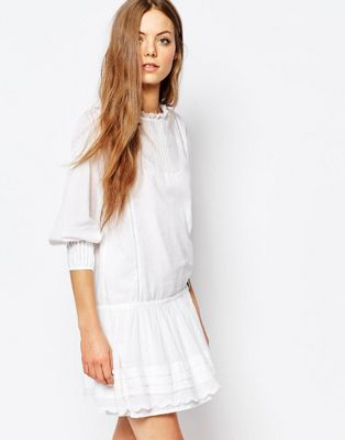 Image 1 of Vanessa Bruno Athe Drop Waist Dress in White