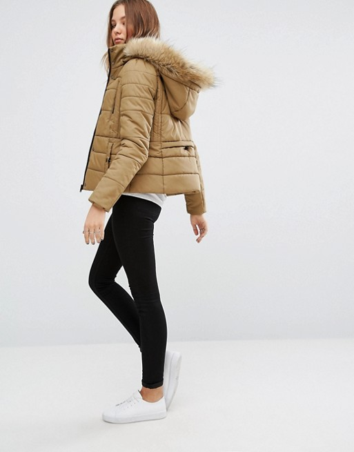 Vero Moda | Vero Moda Short Padded Faux Fur Trim Jacket