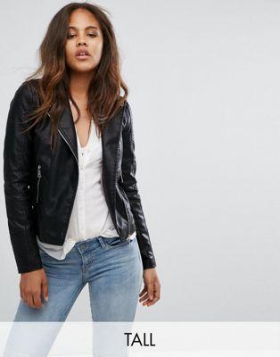 Image 1 of Vero Moda Tall Leather Look Biker Jacket