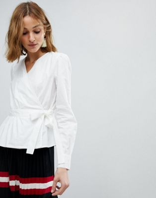 Image 1 of Vero Moda Wrap Shirt With Bubble Shoulder