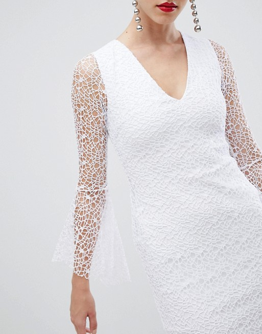 In Lace Vesper Dress Pencil With White Sleeve Fluted Allover RORqxAw0