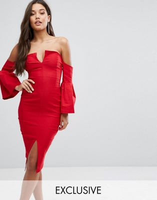Image 1 of Vesper Bardot Plunge Front Midi Dress with Sleeve Detail