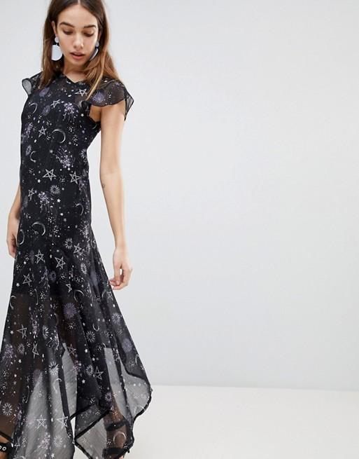 Vestido con bajo asimétrico y estampado transparente de galaxia de New Look