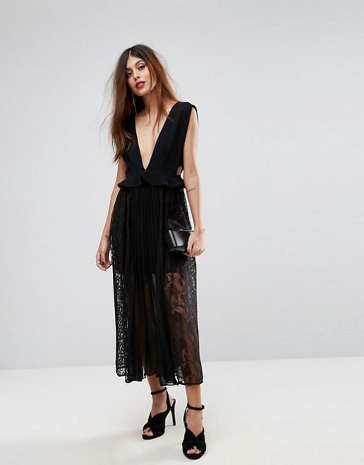 Vestido plisado con encaje y escote pronunciado Angelina de French Connection