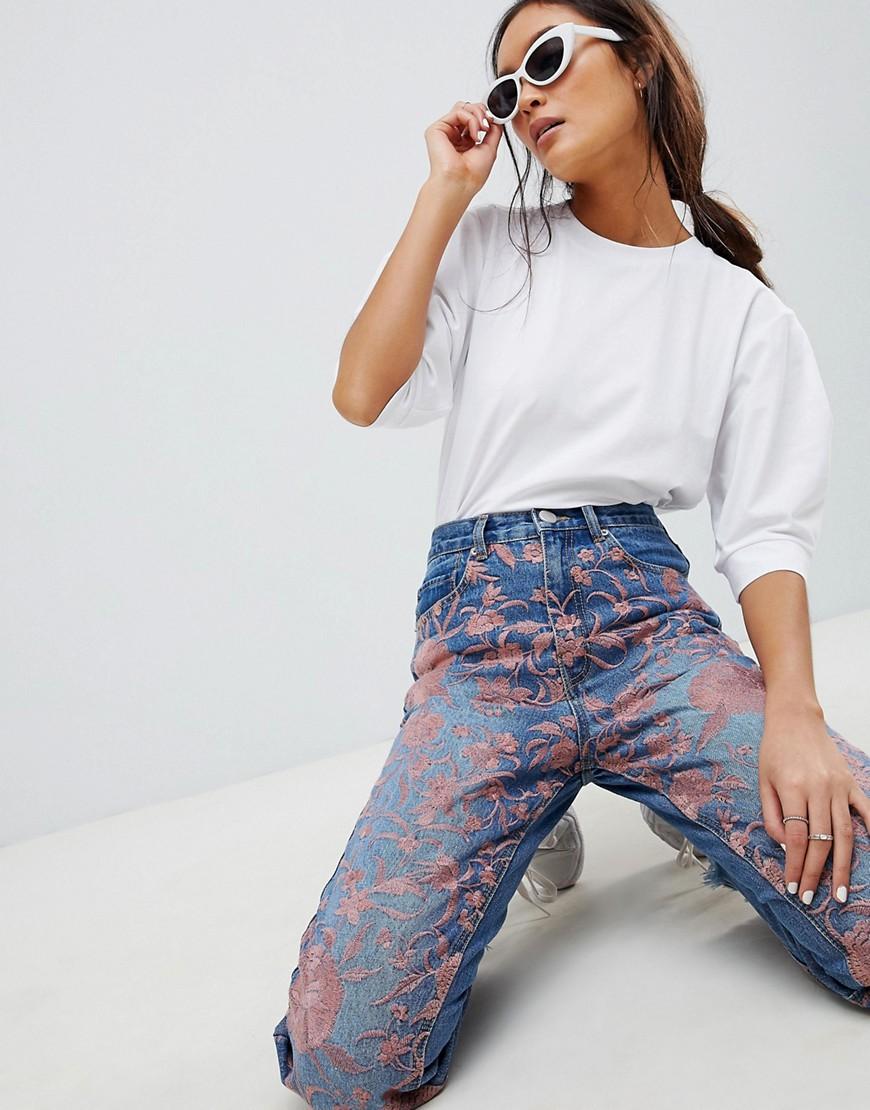 Выбеленные джинсы с вышивкой | ASOS