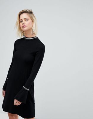 Image 1 of Warehouse Embellished Neck Flare Cuff Knitted Dress