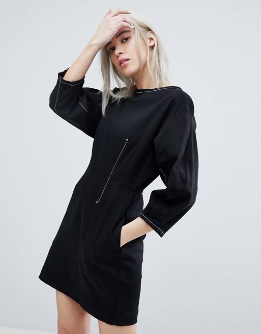 Weekday - Weekday - Robe courte à surpiqûres contrastantes