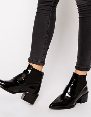 Image 1 of Whistles Riley Pointed Loafer Mid Heeled Ankle Boots