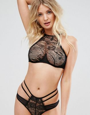 Image 1 of Wolf & Whistle B-G Cup Lace Applique Halter Bra