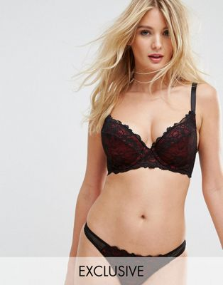 Image 1 of Wolf & Whistle Red And Black Lace Underwire Bra B - G Cup