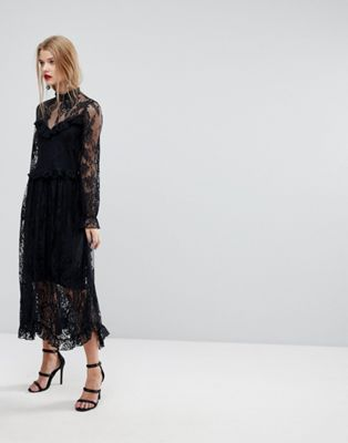 Image 1 of Y.A.S Lace Dress With Ruffle Detail