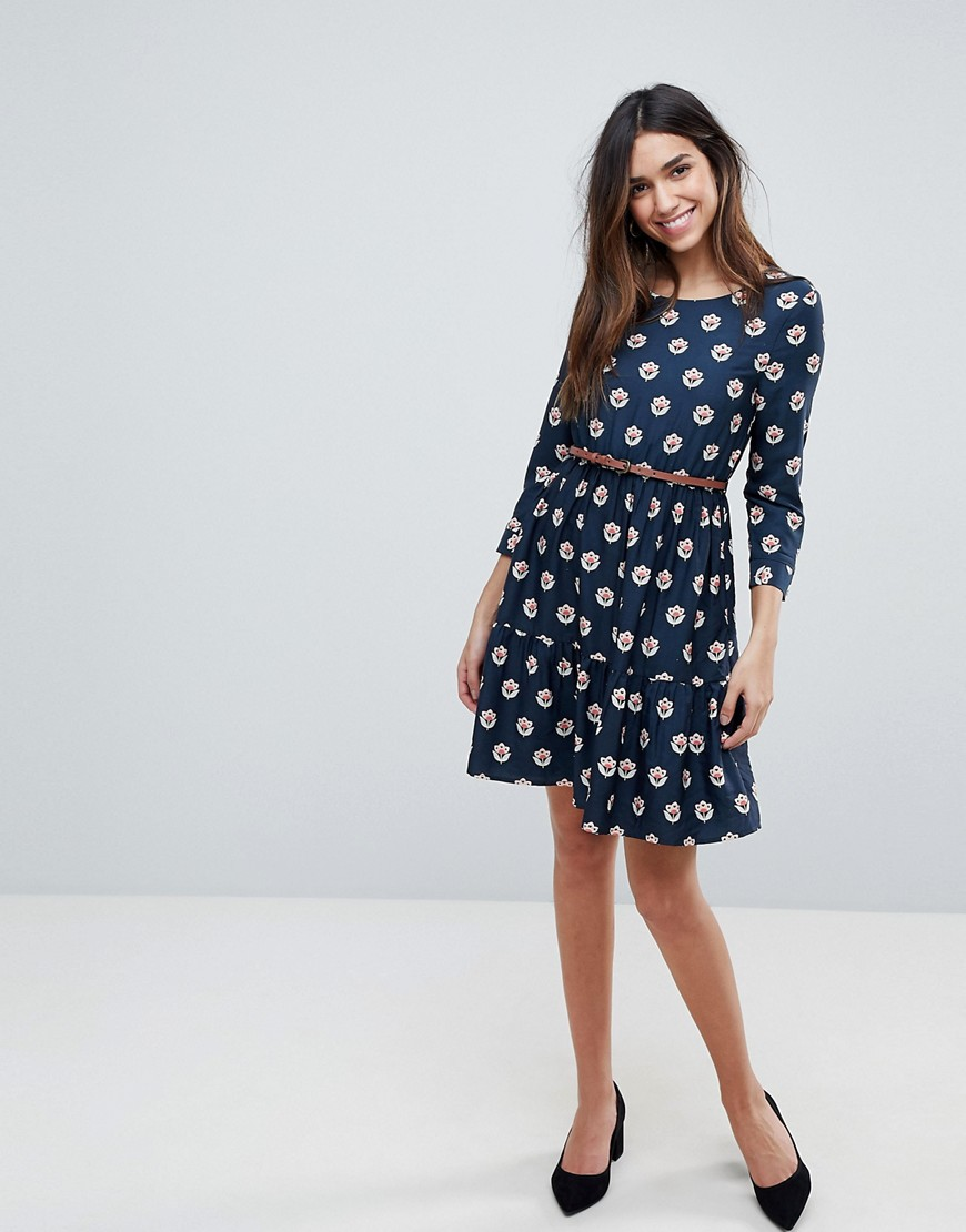 Yumi Long Sleeve Belted Dress In Tulip Heart Print by Dress