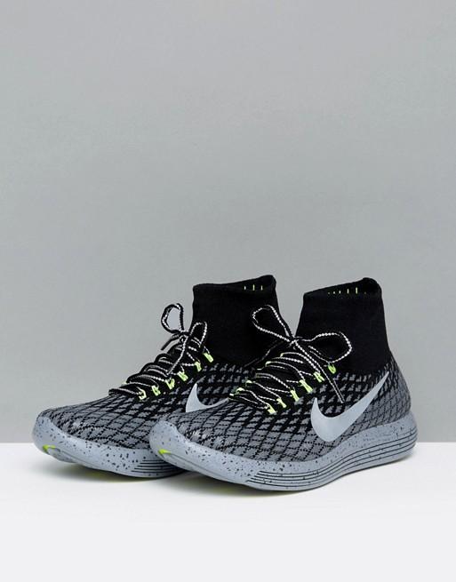 Nike Running | Zapatillas de deporte negras con exterior de Flyknit Lunar  Epic 849664-001 de Nike Running